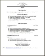 Analyst Resume Objectives