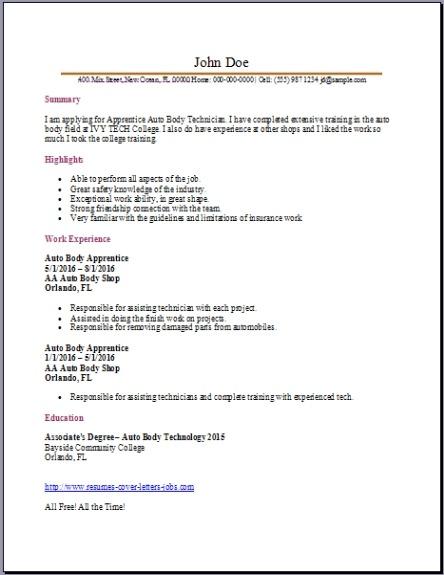 Auto Body Technician Resume2