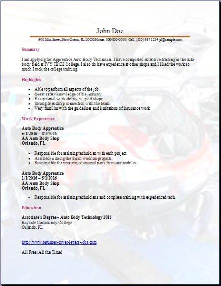 Auto Body Technician Resume3