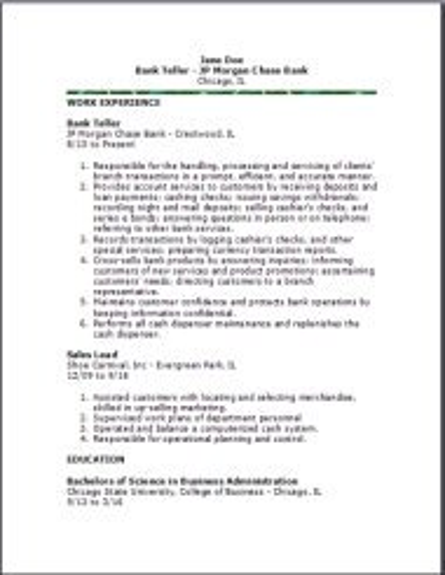 Bank teller resumeexamplessamples free edit with word bank teller resume altavistaventures Images