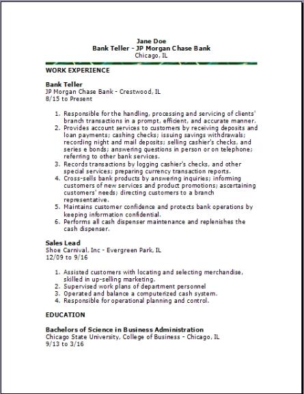 Bank Teller Resume2