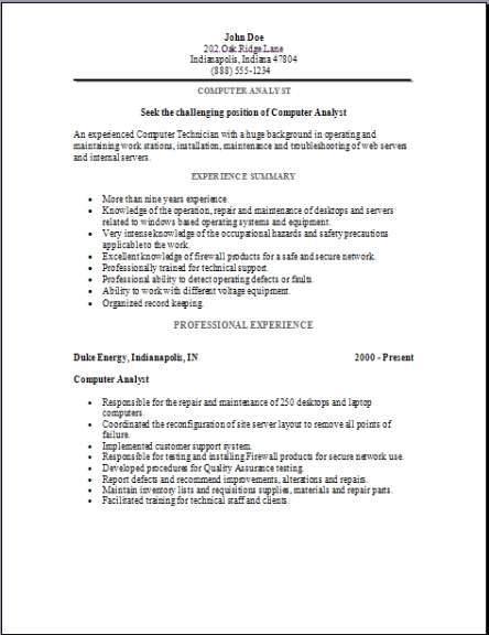 Computer Analyst Resume2