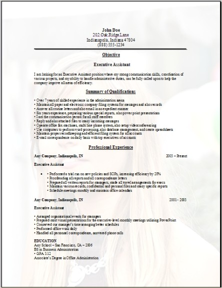 Executive Assistant Resume Sample Three
