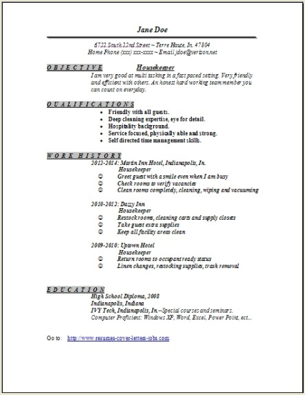 Housekeeper Resume Examples Samples Free Edit With Word
