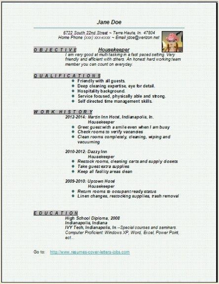 Housekeeper Resume3