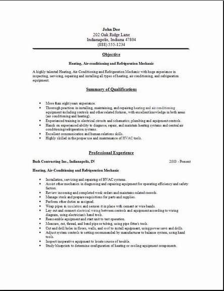 HVAC Resume2