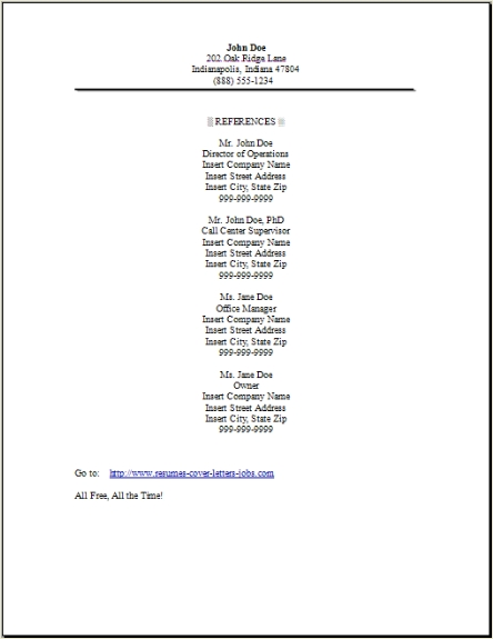 Resume Reference Page