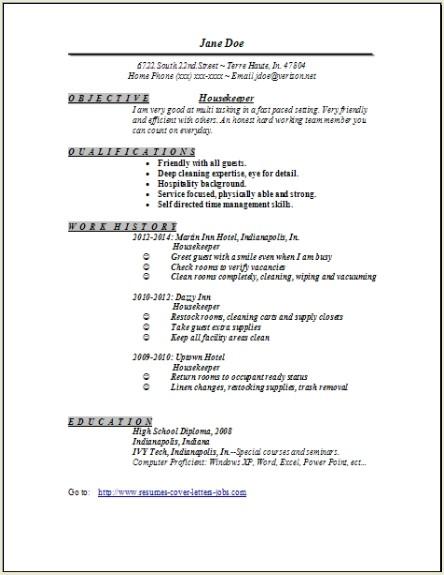 Housekeeper Resume