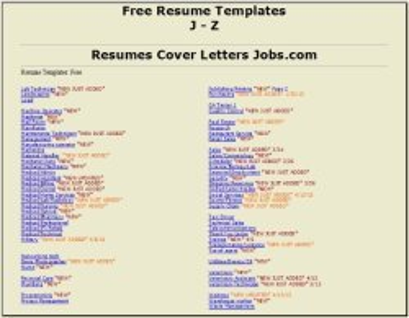 Targeted Resumes J-Z