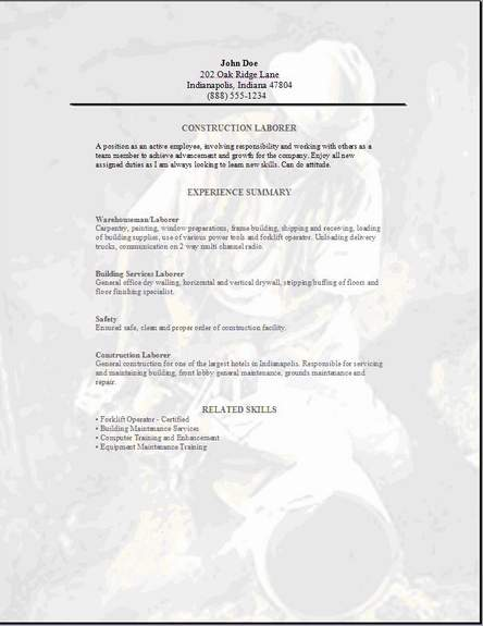 construction laborer resume exles sles free edit