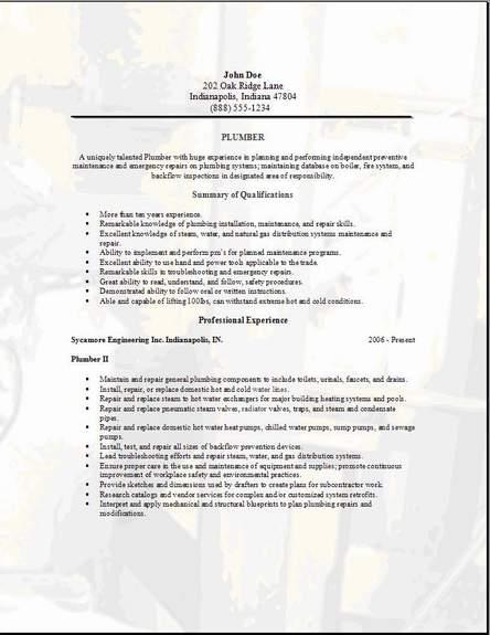 Plumbing Resume3