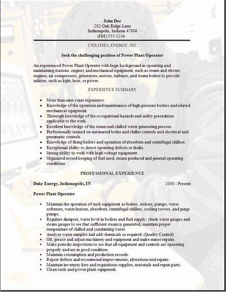 utility worker resumes