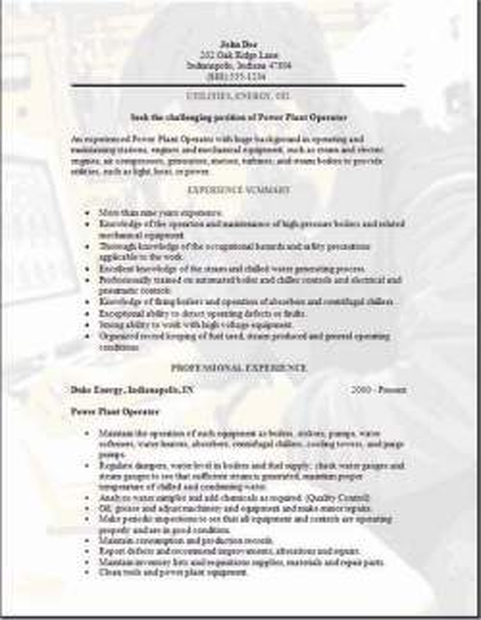 Utilities Energy Oil Resume3