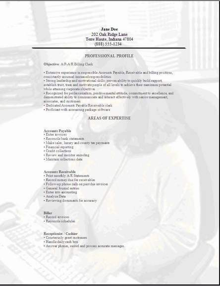 Accountant Clerk Resume ...  A Simple Resume Example