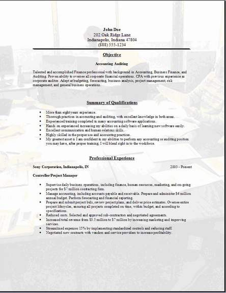 Accounting Auditing Resume examples samples