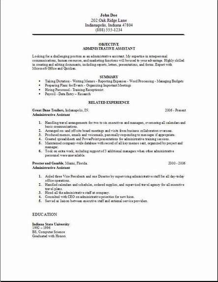 Resumes, Cover Letters And A Job  Administrative Assistant Office Resume