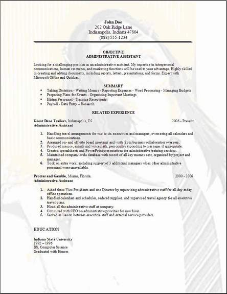Resumes, Cover Letters And A Job  Sample Resume Of Administrative Assistant