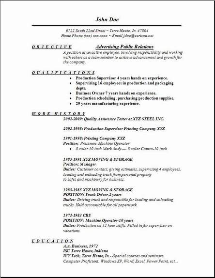 Advertising Public Relations Resume