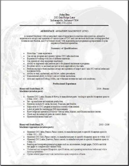 aerospace aviation resume occupationalexamples samples free edit with word - Machinist Resume Template