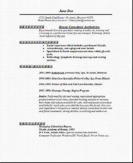 aesthetician resume  occupational examples samples free