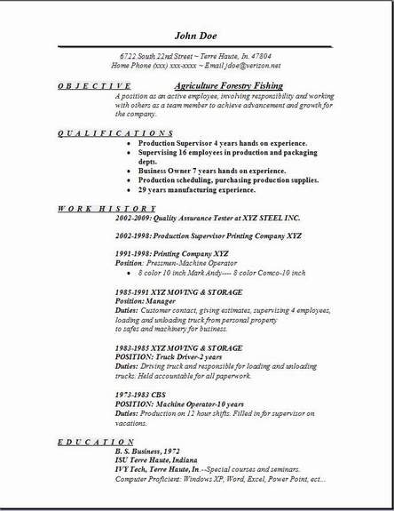 agriculture forestry fishing resume occupational examples samples