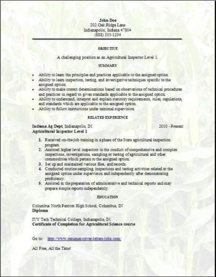 Agriculture Forestry Fishing Resume, Occupational:Examples,Samples