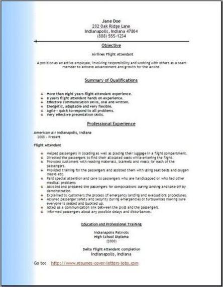 Resume of a cabin crew – Flight Attendant Resume