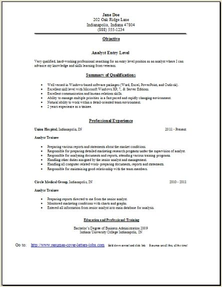 analyst resume  occupational examples samples free edit