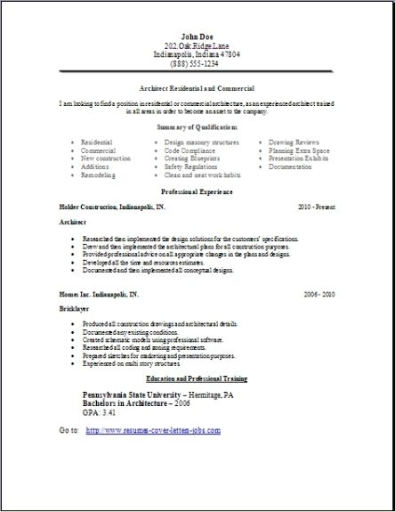 Architecture Resume OccupationalExamples Samples Free Edit With