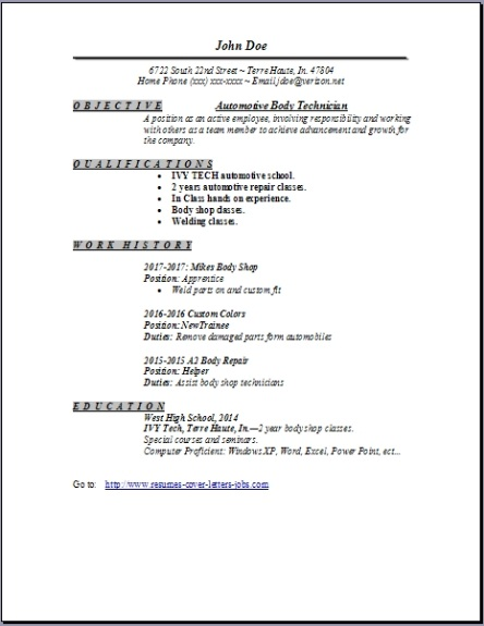 Auto Body Technician Resume, Occupational:examples, samples ...