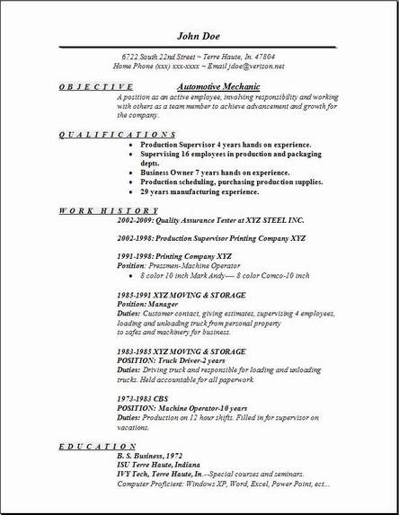 automotive mechanic resume