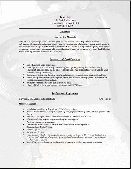 Diesel Mechanic assignment examples free