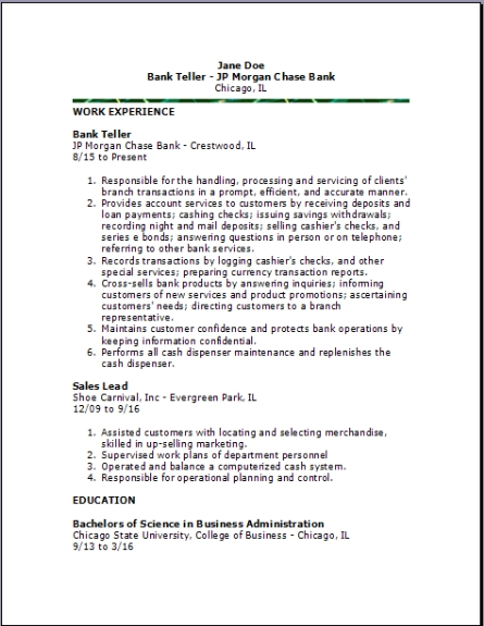 Bank Teller Resume Bank Teller Resume2 ...  Sample Bank Teller Resume