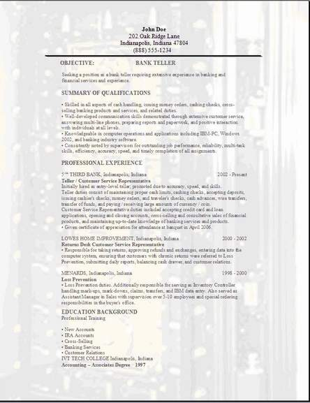 sample bank resume
