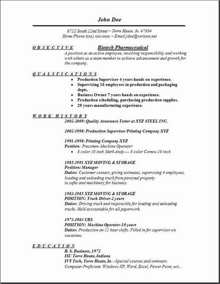 Biotech Pharmaceutical Resume