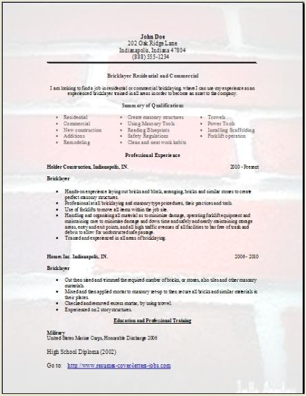 Bricklayer Resume Occupational Examples Samples Free