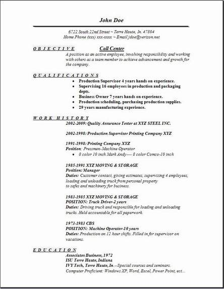 Free resume format for call center job