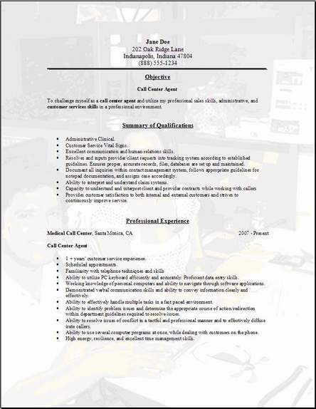 call center resume occupational exles sles free