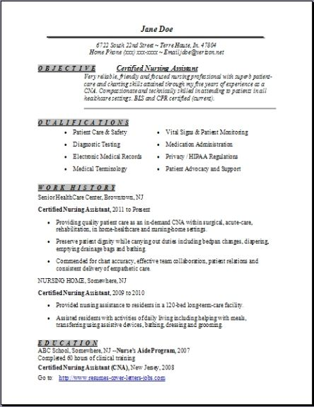 sample certified nursing assistant resume