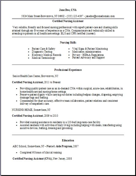 Certified Nursing Assistant Resume examples samples