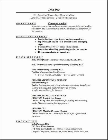 Computer Analyst Resume