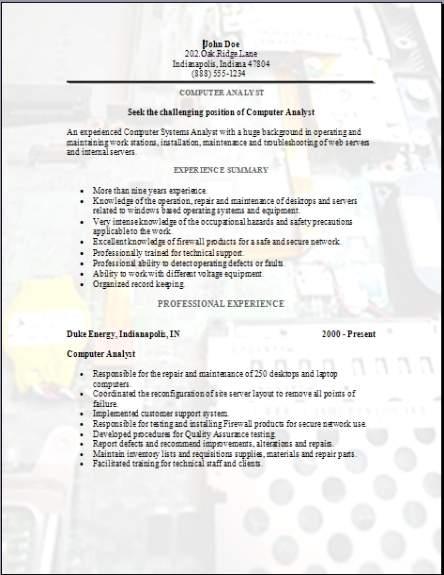 Computer Analyst Resume3