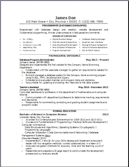 computer database resume  occupational examples samples