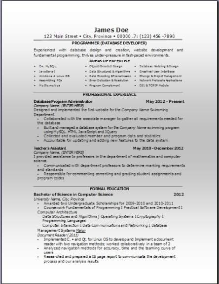 Computer Database Resume3