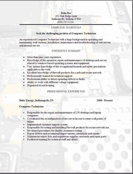 Mechanic Resume Examples. Field Technician Resume Example Best ...