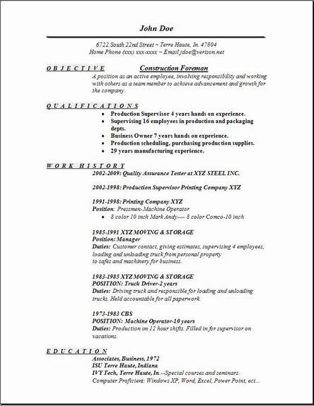 Construction Foreman Resume Occupationalexamplessamples Free