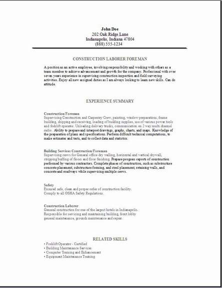 construction foreman resume occupational exles sles