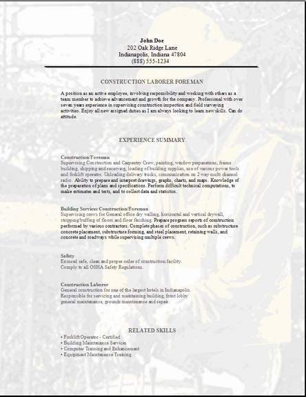 Construction Foreman Resume OccupationalExamplesSamples Free Edit