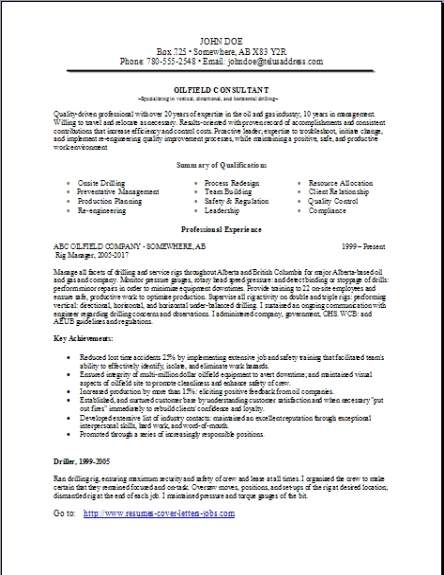 Example consulting resume