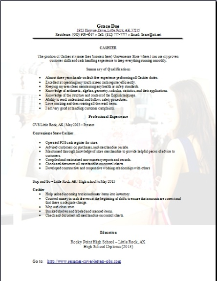 Convenience Store Cashier Resume OccupationalExamplesSamples Free